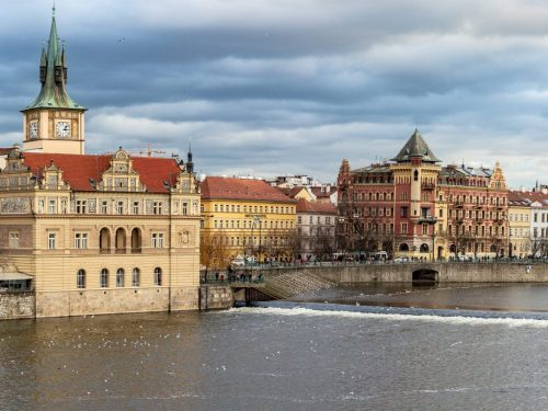 Panorama of Prague and Vltava River from Charles Bridge